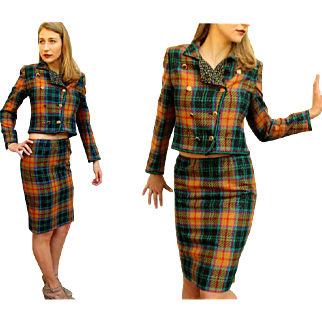 Vintage 80s UNGARO PARALLELE $850 Metallic Plaid Avant Garde Dress Suit -1980s