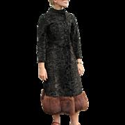 WOW! Vtg 60s ITALIAN Mod Persian/Astrakhan Lambs Wool MINK FUR Dress-Coat - 1960s
