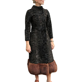 WOW! Vtg 60s ITALIAN Mod Persian/Astrakhan Lambs Wool MINK FUR Dress-Coat - 1960s
