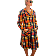 FALL TREND ALERT! Classic but Trendy Vintage 70s Patchwork Plaid Madras Trench Coat - 1970s