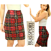 RARE STUNNING Vintage 90s BILL BLASS Red/Black/Gold Plaid Sequin High Waist Skirt - 1990s