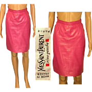 Rare Vintage 80s YVES SAINT LAURENT Rive Gauche Hot Pink Leather Mini Skirt - 1980s