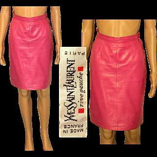 Rare Vintage 80s YVES SAINT LAURENT Rive Gauche Hot Pink Leather Mini Skirt - 1980s