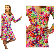 "ICONIC: Ultimate Vintage 70s EMANUEL UNGARO ""Parallele"" Floral Silk EMPIRE Dress - 1970s"