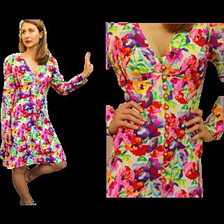 "ICONIC: Ultimate Vintage 70s EMANUEL UNGARO ""Parallele"" Floral Silk EMPIRE Dress - 1970s"