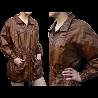 Vintage 80s ESCADA  Made in Italy Snake print Oversized ski parka jacket Coat - 1980s