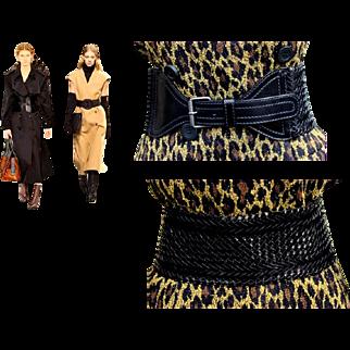 Fall/Winter 2017 Trend Alert: Vintage 80s YVES SAINT LAURENT Black Woven Leather cinch corset Belt - 1980s