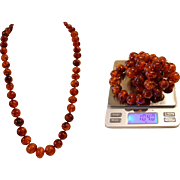 Vintage NATURAL BALTIC AMBER Graduating Bead Necklace - 104g