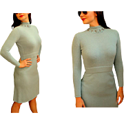 Vintage 70s ST JOHN MARIE GRAY Baby Blue Santana Knit mod long-sleeve Dress - 1970s