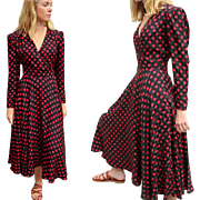 Vintage 80s DOES 40s ALBERT NIPON Silk Polka Dot Circle Skirt Wrap Dress - 1980s