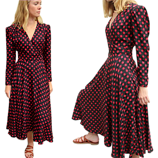 Vintage 80s DOES 40s ALBERT NIPON Silk Polka Dot Circle Skirt Wrap Dress - 1980s