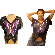 Vintage 80s glam: BEADED SEQUIN deco disco India Silk Butterfly Top blouse - 1980s