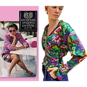 "ICONIC, HARD 2 FIND Vintage 80s Emanuel UNGARO ""Parallele Paris"" Abstract Silk wrap blouse Top - 1980s"
