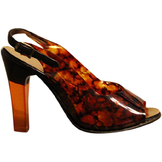 "Vintage 50s/1950s TORTOISE SHELL Lucite High Heel ""Pin Up"" Slingback Shoes - ITALY 5.5N"
