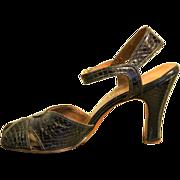 Vintage Pin Up Shoes! 40s/1940s Black SNAKE SKIN Peep Toe SWING dance Cuban Heel  -  7.5 N