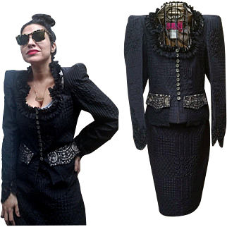 VINTAGE COUTURE: 90s/1990s Christian LACROIX over-the-top Steampunk Black Silk Skirt Suit
