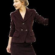 Iconic Vintage YVES SAINT LAURENT Merlot Corduroy 80s/1980s Skirt Jacket SUIT