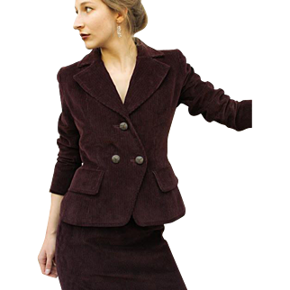Iconic Vintage YVES SAINT LAURENT Merlot Corduroy 80s/1980s Skirt Jacket SUIT
