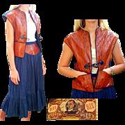 Vintage 70s Bis Bis by Gene Ewing DENIM & EEL SKIN Outfit - boho Peasant Skirt/Vest Top 1970s