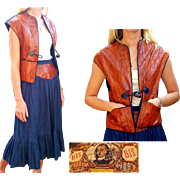 Vintage 70s Bis Bis by Gene Ewing DENIM & EEL SKIN Outfit - Broomstick Skirt/Vest Top 1970s