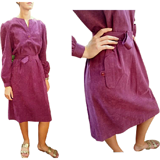 Rare Purple! Vintage 70s MOLLIE PARNIS ULTRASUEDE Belted Shirt Dress - 1970s