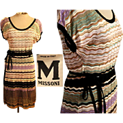 ICONIC Vintage 90s M MISSONI Zig Zag Knit metallic belted Dress - 90s Collectible!