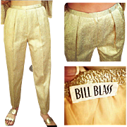 NEW YEAR'S MUST! Vintage 80s Bill Blass gold lame' evening/cocktail Trouser Pants - 1980s Glam!