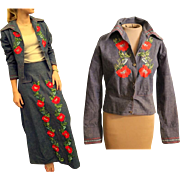 Vintage RARE 70s Mexico Embroidered ROSES boho Jacket/Shirt & Maxi Skirt - 1970s hippie