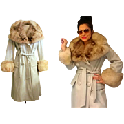 EXQUISITE Vintage LILLIE RUBIN 70s hippie boho Ice Blue Leather/Norway Natural Fox Fur collar & cuffs Coat - 1970s