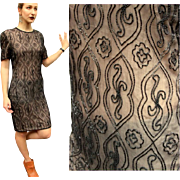Vintage 80s does 20s FLAPPER REVIVAL Black/Nude DECO Beaded india silk Dress - 1980s Glam!