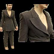 "Vintage FENDI Italy ""POWER SUIT"" of the 1990s - (wool tweed, cocoa jacket/pants, 90s)"