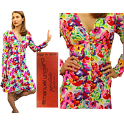 "On-Trend for SPRING! Vintage 70s EMANUEL UNGARO ""Parallele"" Iconic Floral Silk A-Line Dress - 1970s"