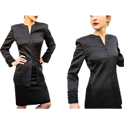 "Vintage MARY McFADDEN COUTURE 80s Black Silk avant garde cocktail beaded Skirt/Tunic Jacket ""Power Suit"" - 1980s"