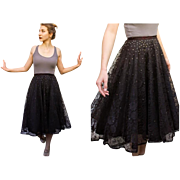 Vintage 50s TRUE CIRCLE SKIRT black lace/Rhinestone rockabilly pin-up - 1950s