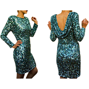 ICONIC Vintage 80s India Silk BEADED/SEQUIN Flapper-Revival Cocktail Dress - 1980s