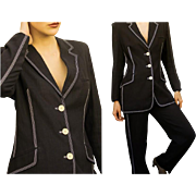$900 Vintage 90s OZBEK ITALY Black Linen flowy Pant/Jacket Suit - 1990s RUNWAY