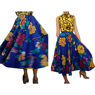 Vintage PERRY ELLIS 80s does 50s cotton floral True CIRCLE Skirt - 1980s XXS - XS