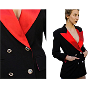 Iconic Vintage ESCADA W. Germany TUXEDO Tux Jacket/Blazer/Coat - Wool/Silk/RHINESTONES