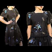 ICONIC 80s Vintage Neon PAINT SPLATTER Abstract Blouse/Top/Skirt Set - 1980s Valley Girl era