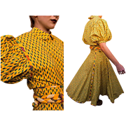 COLLECTIBLE 80s Jan/Cristina BARBOGLIO Yellow Puffy Sleeve Blouse/Top/Circle Skirt - 1980s