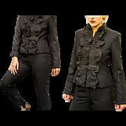 Vintage ysl YVES SAINT LAURENT 90s Ruffle-front avant garde Jacket/Pant Power-Suit - 1990s Couture