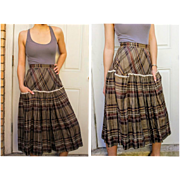 Vintage 50s ROCKABILLY full circle pinup PLAID Linen/Lace trim Skirt - 1950s