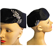 Vintage 50s Miss May made in ITALY Black Pill Box Hat - w/ 1950s RHINESTONE Brooches