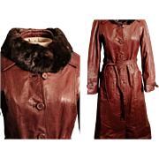 Vintage 70s CORDOVAN LEATHER mod spy girl Trench Coat - w/Optional MINK FUR Collar - 1970s