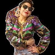 Vintage 80s SCALA Silk Heavily Beaded Sequin trophy DECO evening Jacket - 1980s