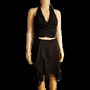 Vintage TADASHI 90s sheer mesh 2pc Dress HALTER/SKIRT - 1990s Body Con