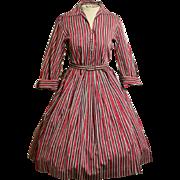 Vintage 1950s Rockabilly-Swing NEW LOOK Dress w/Rhinestone Buttons 50s