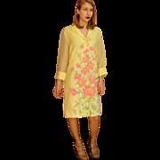"****VINTAGE SALE!!!*****Gorgeous Vintage 60s ALFRED SHAHEEN ""Master Printer"" Garden Party Shirt-Dress 1960s"