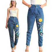 "****VINTAGE SALE!!!*****Vintage 80s ""Valley Girl""  Painted HIgh Waist Jeans -  1980s"