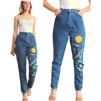 """Totally AWESOME Vintage 80s """"Valley Girl""""  HAND-PAINTED HIgh Waist Jeans -  1980s"""